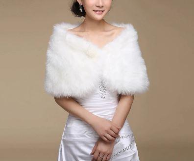 Bride, Bridesmaid, Floewrgirl White Faux Fur Shawl Wrap