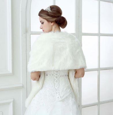 Bride's White Faux Fur Shawl Wrap