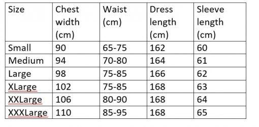 Size measurement chart