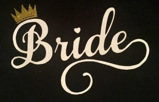 Bride Tshirt in Black with White Writing and Gold Glitter Crown