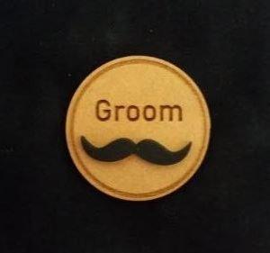 Groom wedding badge