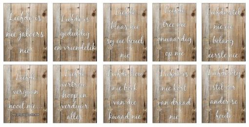 'Love is' Corinthians Verse Bible Sign Boards in AFRIKAANS on LIGHT wood