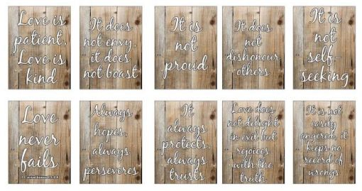 'Love is' Corinthians Verse Bible Sign Boards in ENGLISH on LIGHT wood