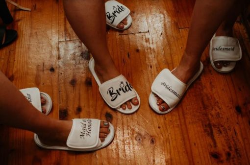 Personalised Bride Bridesmaid Maid of Honour Bridal Wedding Slippers