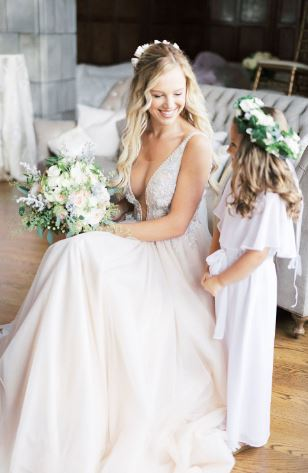 Happy Flowergirl with Bride