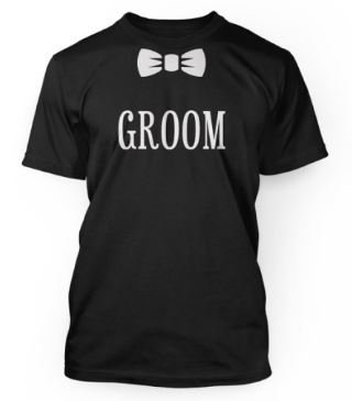 Groom tshirt with a bowtie print