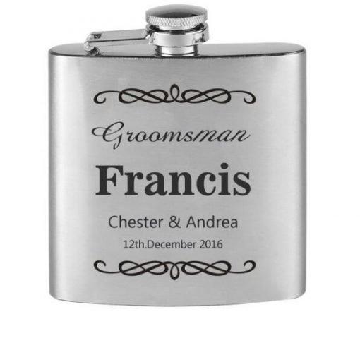Personalised Groom Groomsman Bestman Flask Wedding Gift