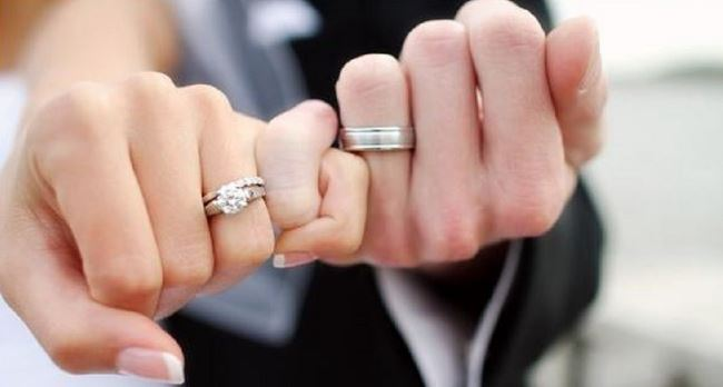 Wedding ring on bride and groom