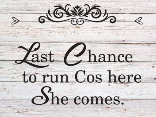 Last Chance to run cos here she comes wedding sign