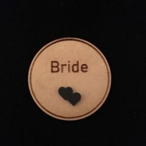 Bride Wooden Wedding Badge