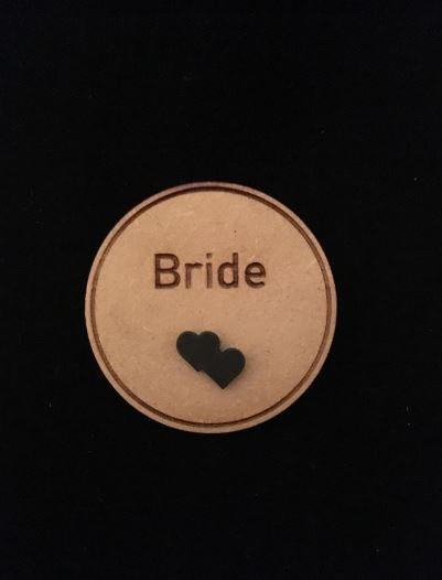 Bride Wooden Wedding Badge
