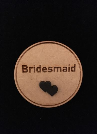 Bridesmaid Wooden Wedding Badge