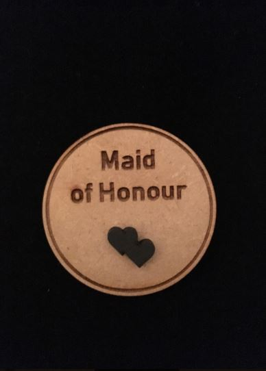 Maid of Honour Wooden Wedding Badge