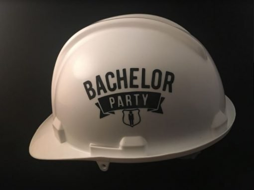 Customise any text on your white helmet - perfect for Groom Team Events