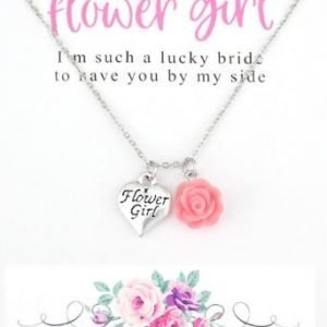 Wedding Thank You Necklace with Card Gift for Flowergirl
