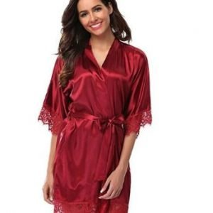 Burgundy Bridal Robe with Lace Edges