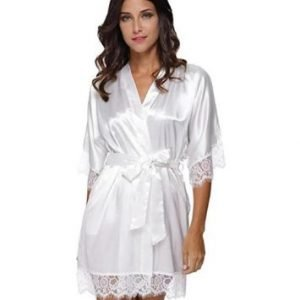 White Bridal Robe with Lace Edges