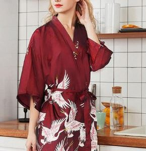 Burgundy with pattern Bridal Wedding Robe