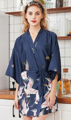 Navy with pattern Bridal Robe