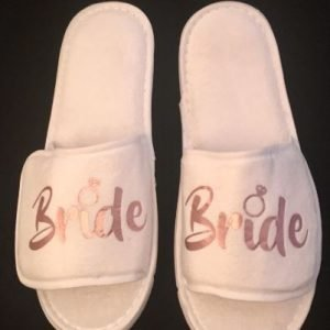 Bride Slippers in Rose Gold