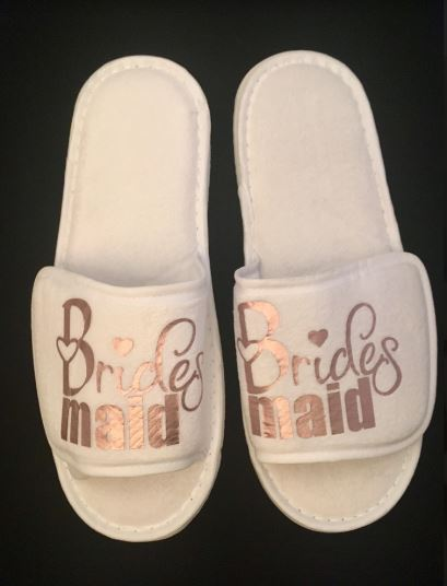 Bridesmaid Slippers with rose gold text