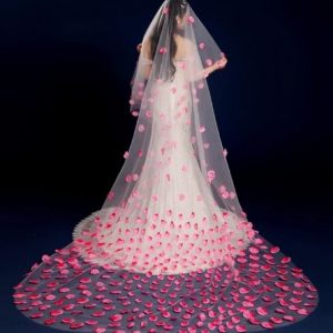 White Bridal Wedding Veil with Pink Petals scattered