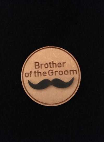 Brother of Groom Wooden Wedding Badge