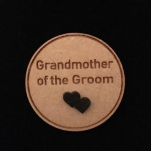 Grandmother of Groom Wooden Wedding Badge
