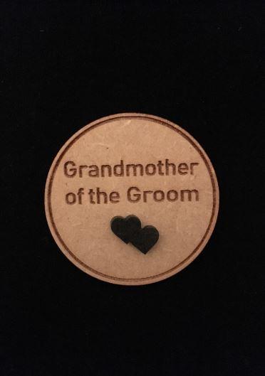 Grandmother of Groom Wooden Wedding Badge