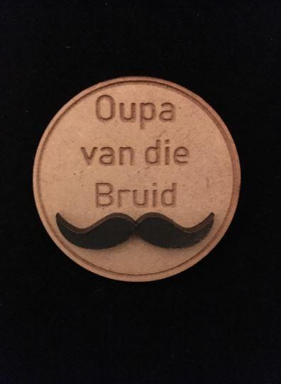 Oupa van die Bruid Wooden Wedding Badge