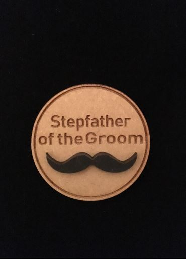 Stepfather of Groom Wooden Wedding Badge