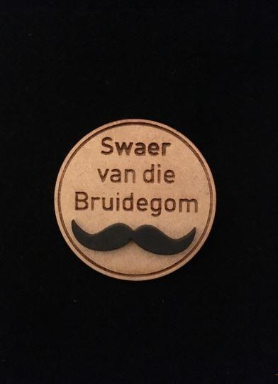 Swaer van Bruidegom Wooden Wedding Badge