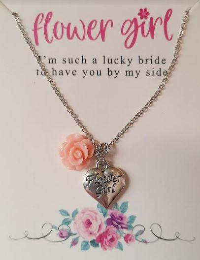 Flowergirl wedding gift thank you necklace