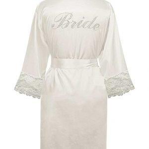 White Bridal Wedding Robe with BRIDE in Diamante'