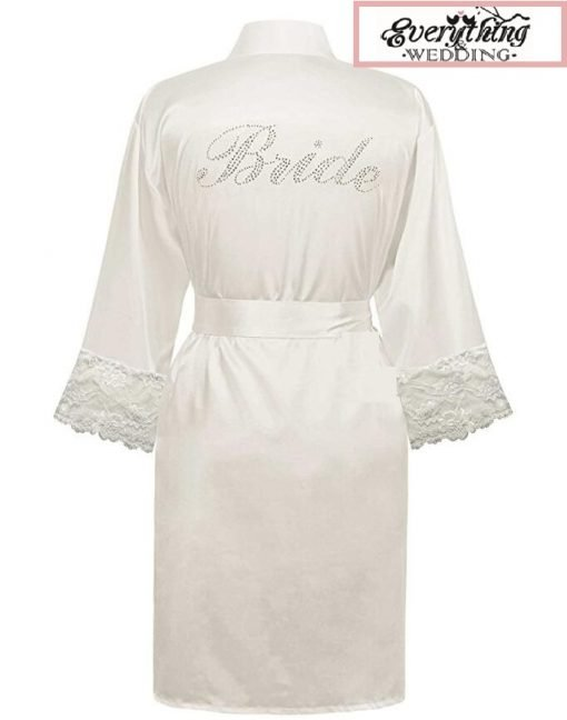 White Bridal Wedding Robe with BRIDE in Diamante'