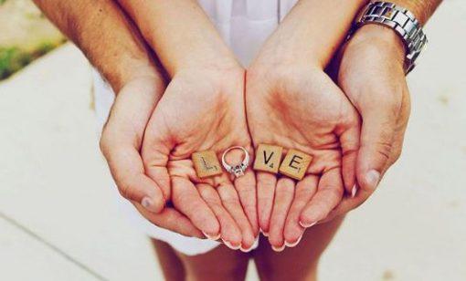 The Perfect Engagement Shoot Props: LVE Scrabble Letters