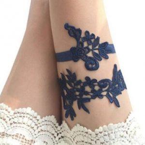 Navy blue paired bridal wedding garters
