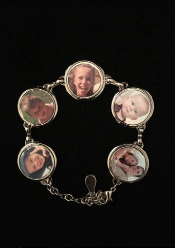 Customised Personalised Photo silver Bracelet with 5 of your photos