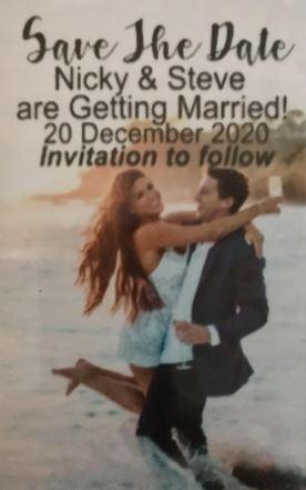 Personalised Customised Wedding Save the Date Fridge Magnet