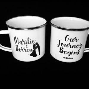 Customised Personalised Wedding Bridal Team Enamel Mugs