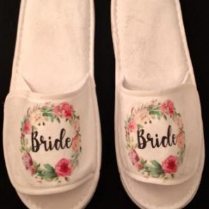 Customised Wedding White Bridal Slippers