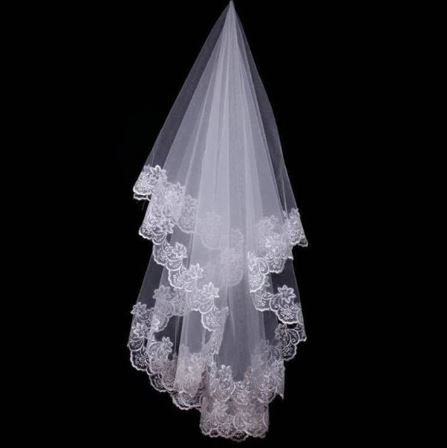 Stunning Bridal Veil with Lace Edges in one layer