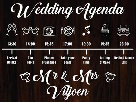 Wedding Agenda Signboard