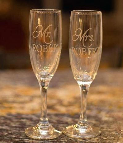 Customised Wedding Champagne Flute