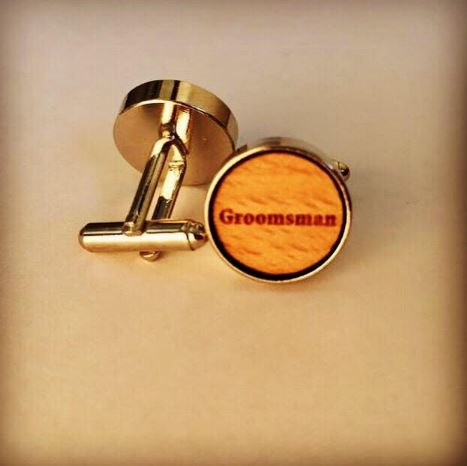 Groomsman wooden Wedding Cufflinks with the words GROOMSMAN