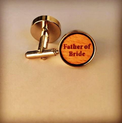 Father of Bride wooden Wedding Cufflinks with the words FATHER OF BRIDE
