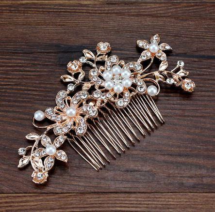 Beautiful Rose Gold Bridal Wedding Headpiece Hair Accessory