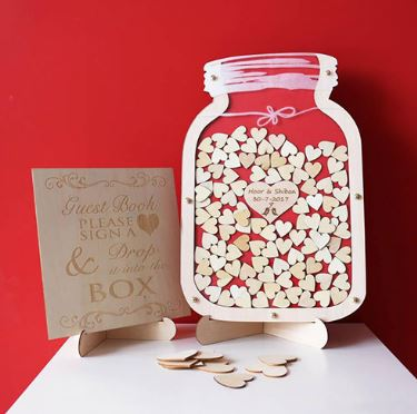 Customised Wedding Guest Book Jar filled with Hearts to be signed by your guests