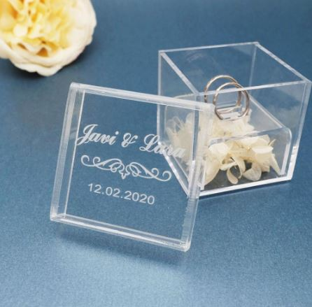Customised Acryllic Wedding Ring Box