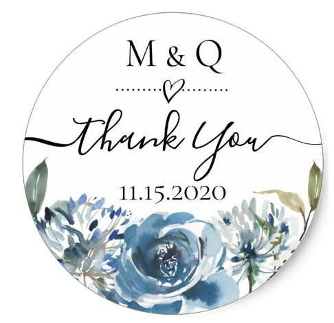 Customised Personalised Thank You Gift Favour Favor Wedding Sticker